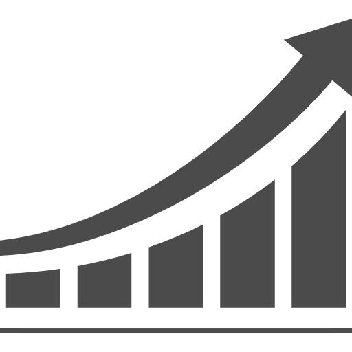指数関数的にアップするグラフのアイコン